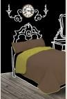 Gina ágytakaró, zöld-nugát